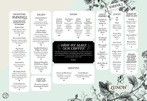 Sydney Restaurant, cafe and bar lunch menu design