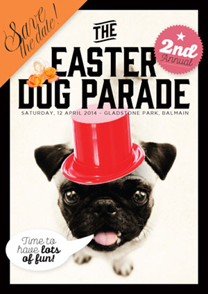 Easter dog parade poster and flyer design balmain sydney