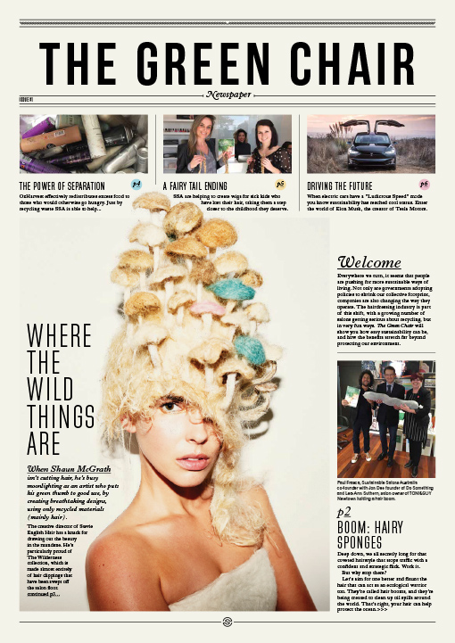 Sustainable Salons Australia magazine and newspaper graphic desgin